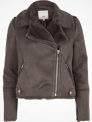 River Island River Island Womens Grey faux shearling biker jacket