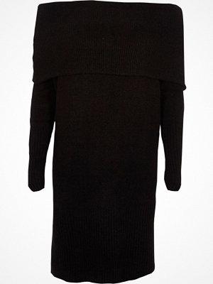 River Island Black foldover bardot jumper dress