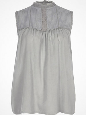 River Island Light Blue pleated yoke high neck tank top