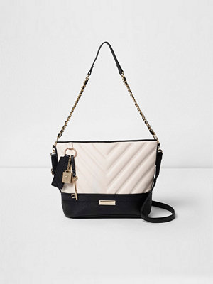 River Island omönstrad axelväska River Island Womens Black quilted chain bucket bag