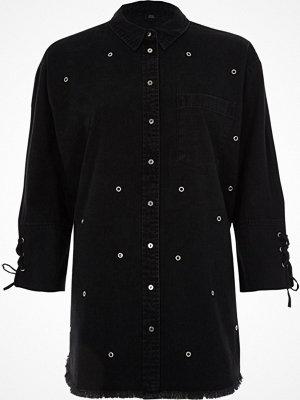 River Island Black eyelet stud lace-up cuff denim shirt
