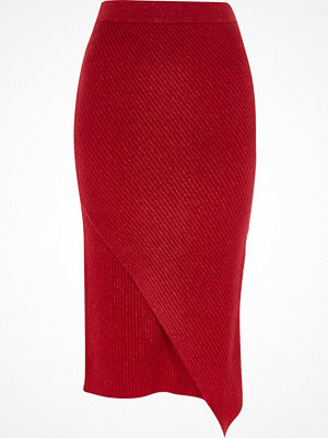 Kjolar - River Island Red knit wrap front midi skirt