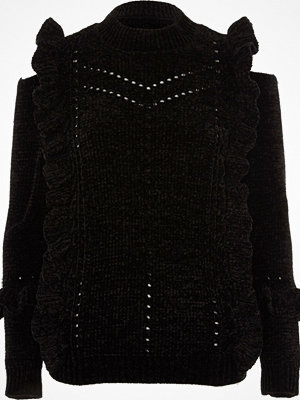 Tröjor - River Island River Island Womens Black chenille frill cut out shoulder jumper
