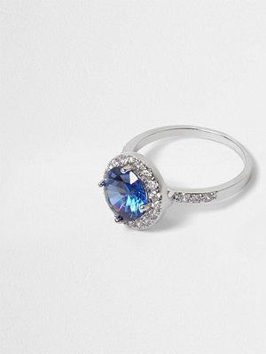River Island River Island Womens Silver tone blue diamante ring