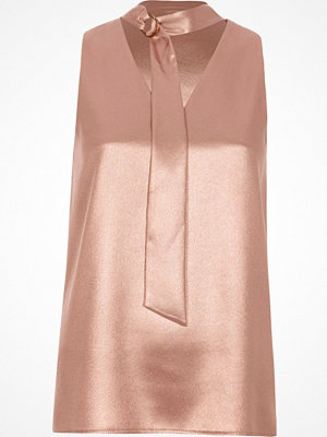 River Island River Island Womens Pink metallic D-ring tie neck sleeveless top