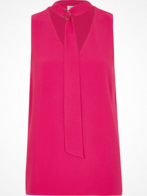 River Island River Island Womens Pink D-ring tie neck sleeveless top