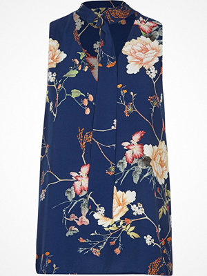 River Island River Island Womens Blue floral D-ring tie neck sleeveless top