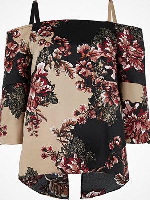 River Island River Island Womens Black floral print cold shoulder top