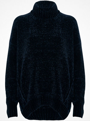 River Island River Island Womens Navy chenille knit oversized roll neck jumper
