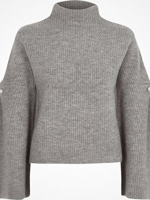River Island River Island Womens Grey high neck wide sleeve knit jumper