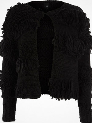 Cardigans - River Island River Island Womens Black shaggy knit cardigan