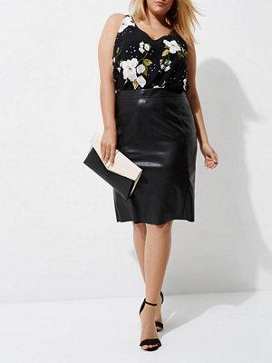 River Island River Island Womens Plus Black floral double strap cross vest