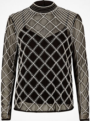 Blusar - River Island River Island Womens Black mesh pearl embellished high neck top