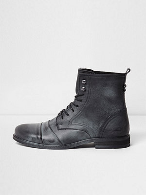 Boots & kängor - River Island River Island Mens Black distressed leather lace-up boots