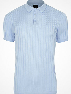 Pikétröjor - River Island Light Blue muscle fit cable knit polo shirt