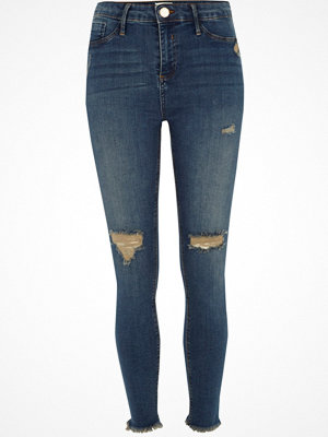 River Island Mid Blue Molly distressed frayed hem jeggings