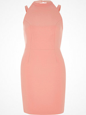River Island Petite light Pink bow back mini bodycon dress