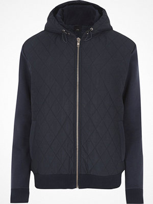 Street & luvtröjor - River Island River Island Mens Navy quilted puffer jersey sleeve hoodie
