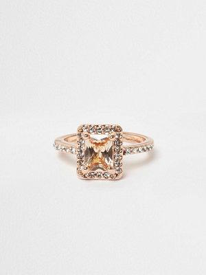 River Island River Island Womens Rose Gold tone rectangle jewel ring