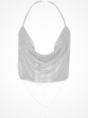 River Island River Island Womens Silver tone cup chain cowl halter neck top