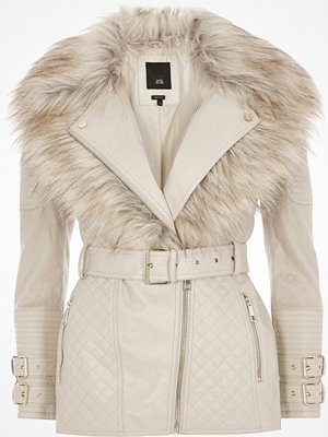River Island River Island Womens Petite Cream faux fur collar biker jacket