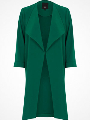 River Island River Island Womens Dark emerald Green fallaway duster coat