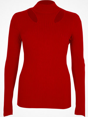 River Island River Island Womens Red rib knit cut out high neck top