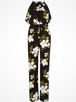 Jumpsuits & playsuits - River Island River Island Womens Black floral frill wide leg jumpsuit