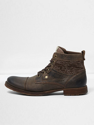 Boots & kängor - River Island River Island Mens Brown leather knit panel work boots
