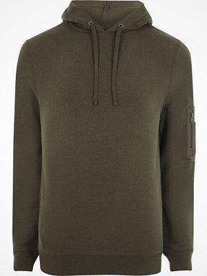 Street & luvtröjor - River Island Dark Khaki green zip sleeve hoodie