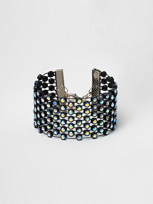River Island armband River Island Womens Black diamante threaded bracelet