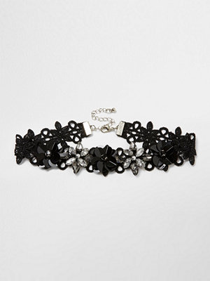 Chokers - River Island River Island Womens Black 3D floral lace choker