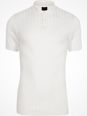 Pikétröjor - River Island White rib knit muscle fit polo shirt