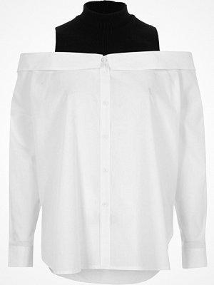 Skjortor - River Island River Island Womens White turtle neck layered bardot shirt
