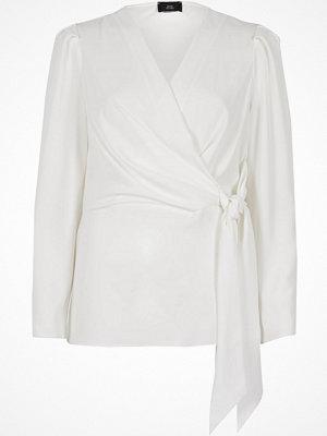 River Island River Island Womens Black wrap tie waist blouse