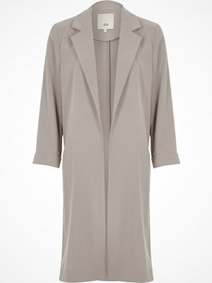 River Island River Island Womens Light Grey ring trim duster coat
