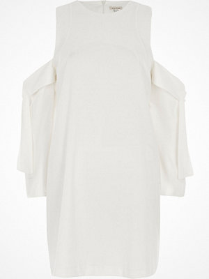 River Island River Island Womens White cold shoulder tie sleeve swing dress