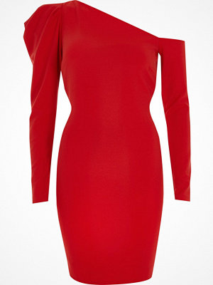 River Island River Island Womens Red one shoulder puff sleeve bodycon dress