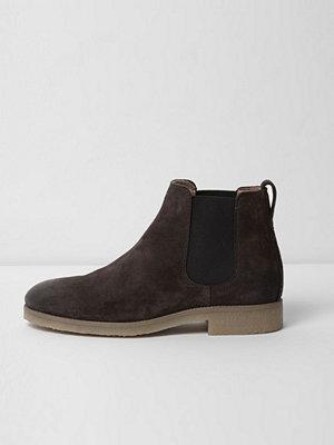 Boots & kängor - River Island River Island Mens Dark Brown suede chelsea boots