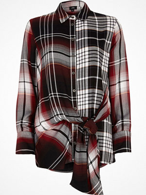 River Island River Island Womens Red mix check print tie front shirt