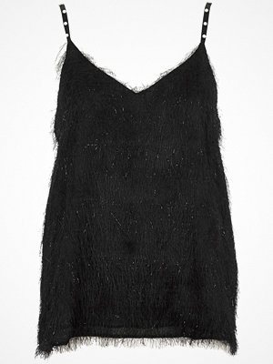 River Island River Island Womens Black fringed faux pearl strap cami top