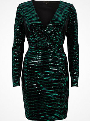 River Island River Island Womens Green sequin metallic wrap bodycon dress