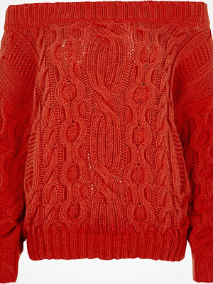 River Island River Island Womens Red cable knit bardot jumper