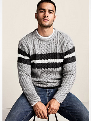 Tröjor & cardigans - River Island River Island Mens Grey cable knit block stripe knit jumper