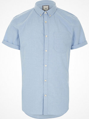 Skjortor - River Island Blue short sleeve Oxford shirt