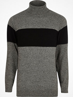 Tröjor & cardigans - River Island River Island Mens Grey block stripe roll neck knit jumper