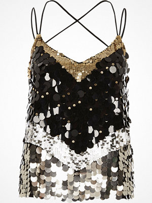 Linnen - River Island River Island Womens Black sequin disc embellished cami top
