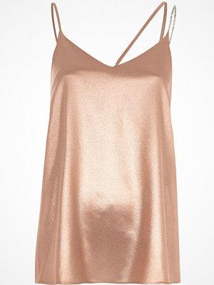 Linnen - River Island River Island Womens Pink metallic embellished strap cami