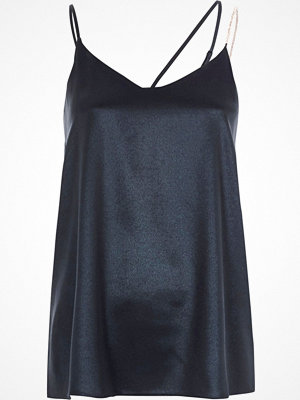River Island River Island Womens Blue metallic embellished strap cami top