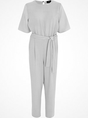 Jumpsuits & playsuits - River Island River Island Womens Light Grey tie waist jumpsuit